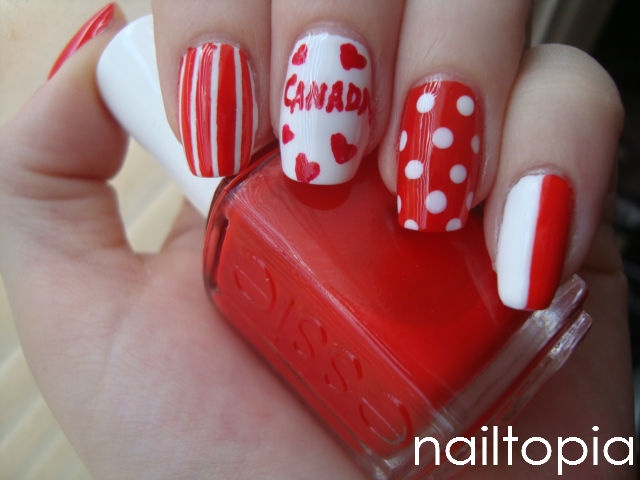 Happy Canada Day Nails