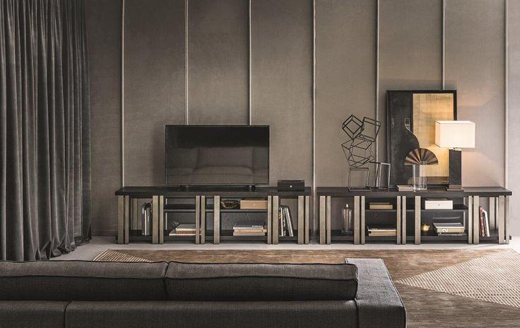 Mondrian design Massimiliano Raggi for Casamilano home collection 2017, low bookshelf or TV unit.
