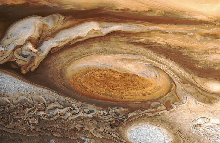 This is a reprocessed image of Jupiter's Great Red Spot from the 1979 Voyager 1 encounter with the planet. Old data like this is being crunched by people like Bjorn Jonsson to create new and better detailed images that were not possible when the data sets were originally acquired.