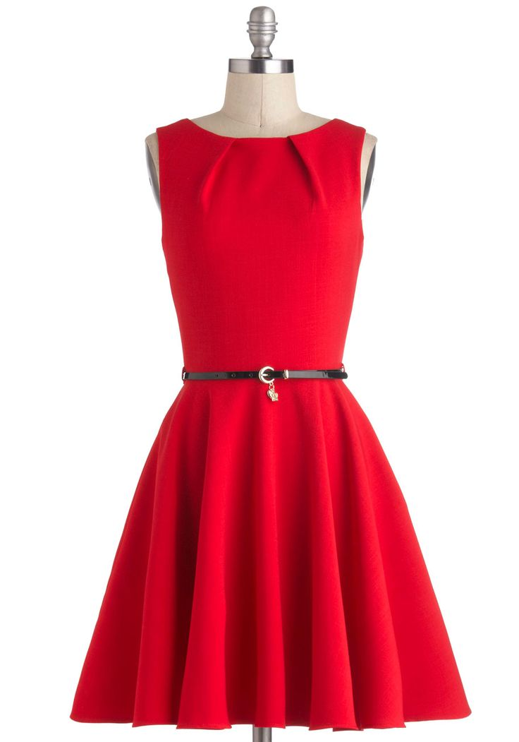 Luck Be A Lady Dress in Red - Red, Solid, Belted, A-line, Sleeveless, Mid-length, Exposed zipper, Pockets, Party, Vintage Inspired
