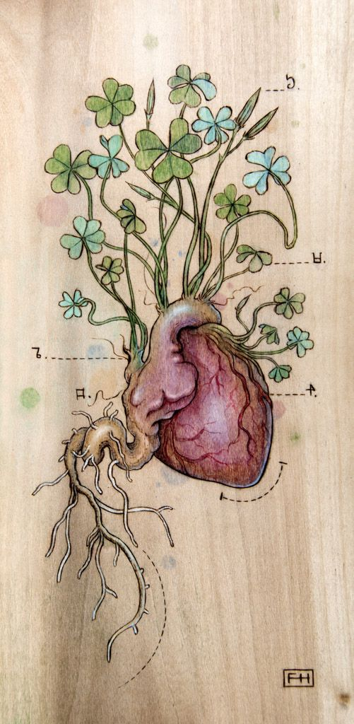 Fay Helfer - Pyrography Art - Clover Heart  http://fayhelfer.com/  Article : www.peachy-keen.fr/fay-helfer-pyrography-art/
