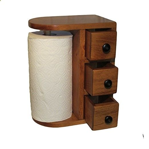 AMISH HANDCRAFTED WOODEN PAPER TOWEL HOLDER STATION with 3 Drawers, Solid Wood, Finished in Beautiful Honey Oak, DESIGNED in a UNIQUE STYLE, Stained  Varnished. Hand Made By - The Amish Guys