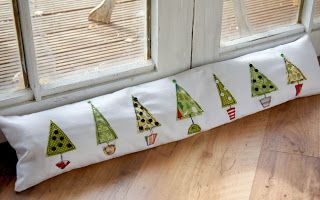 Free motion Christmas trees draught excluder - Sew What? by Debbie Shore