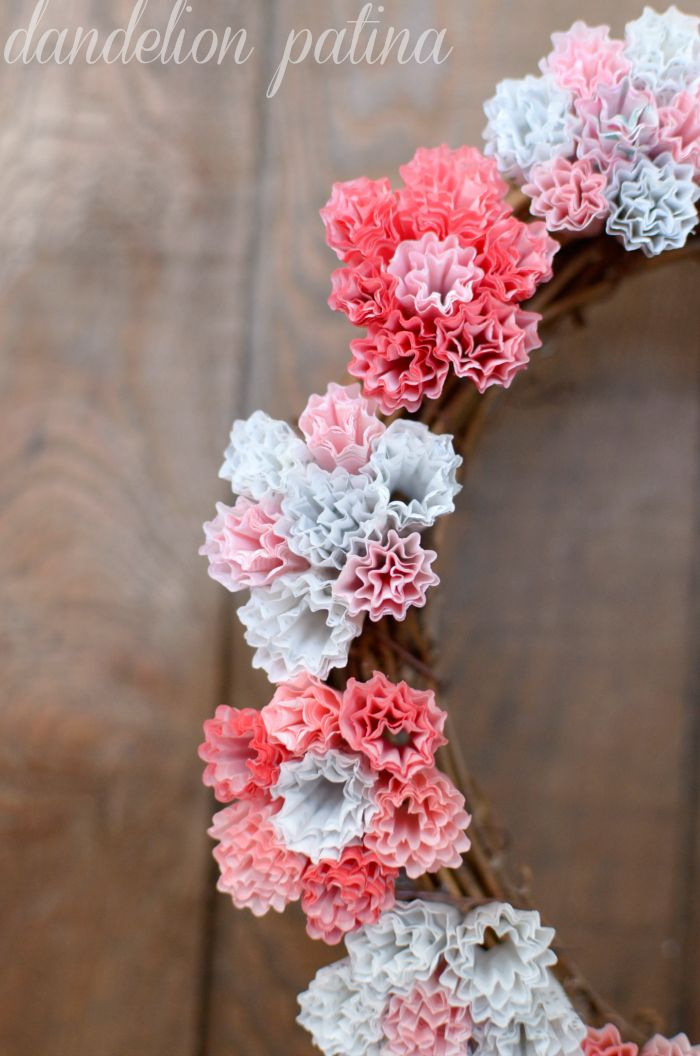 DIY Cupcake Liner Wreath - Guest Post by Dandelion Patina - at The Everyday Home Blog