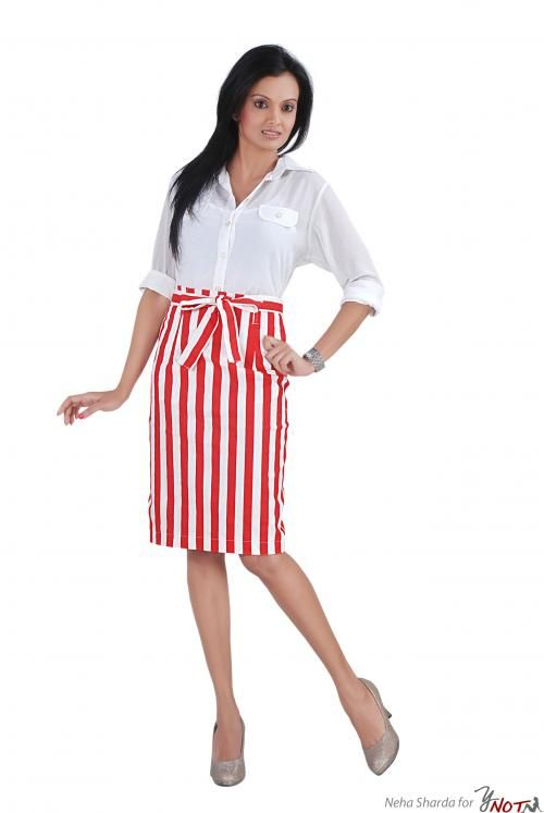 White Formal Shirt With Red & White Skirt By : Neha Kamal Sharda Description   This garment features a classic white chiffon formal shirt with red & white striped fitted formal skirt in stretch cotton .