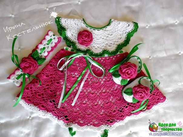 Детский комплект. Платье-боди, пинетки, повязка на голову. Вязание крючком... фото #1