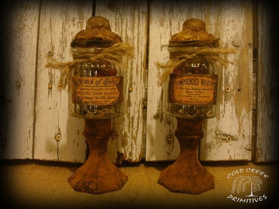 Witches Apothecary Jars Primitive Halloween Decor