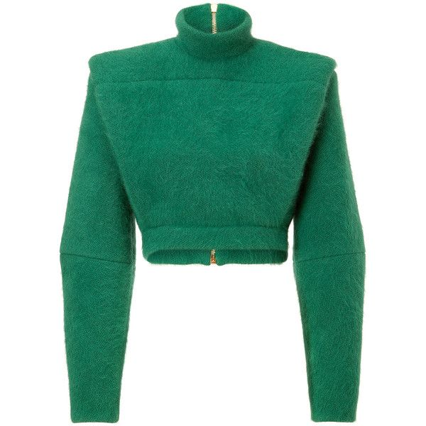 Balmain Wool Blend Structural Pullover ($1,330) ❤ liked on Polyvore featuring tops, sweaters, jackets, balmain, shirts, green, tailored shirts, long sleeve pullover shirts, green crop top and cropped sweater