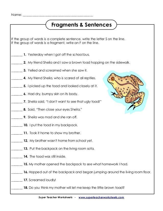 Pin On English Sentences and fragments worksheets
