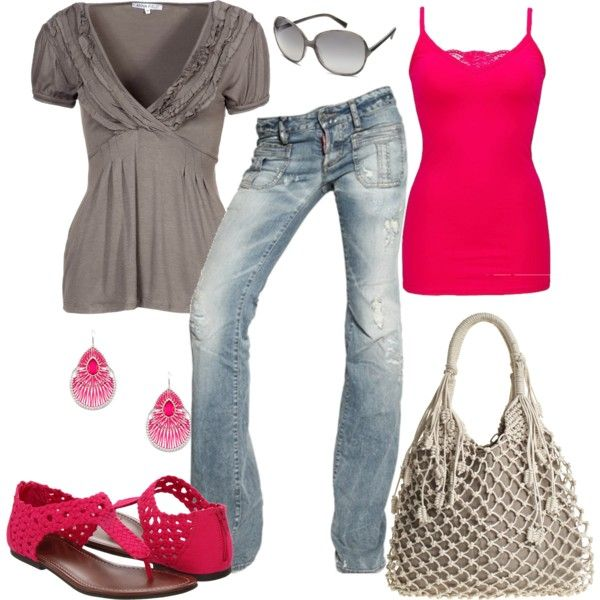 Khaki and Hot Pink, created by pamnken on Polyvore