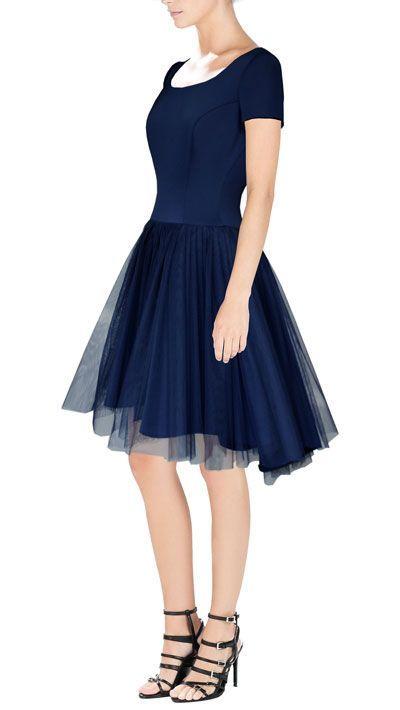 Sukienka z nałożonym tiulem wizytowa na studniówkę   Cena: 318,00 zł  #asymetrycznasukienka #sukniawieczorowa #ztiulem #sukienkanastudniowke