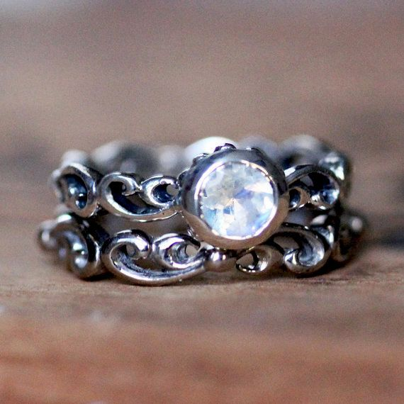 Rainbow moonstone engagement ring set blue by metalicious on Etsy