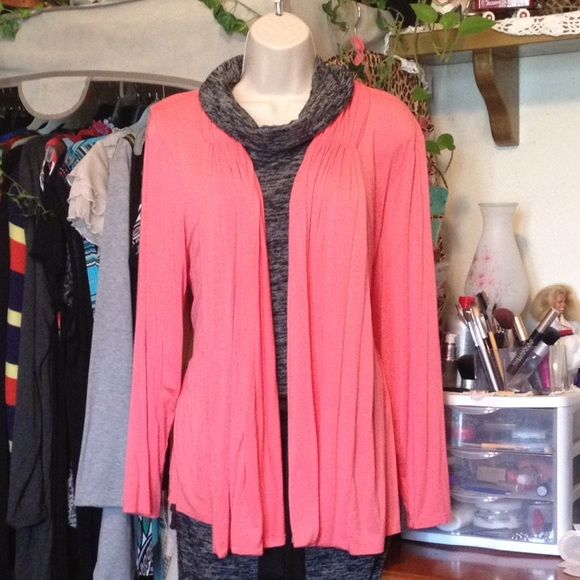 Woman Spring Pink Coral Cardigan Size 2x NWOT! New, never used! I.N.Studio Woman Pink Coral Cardigan Size 2x. 95% Rayon 5% Spandex So beautiful!!! Look for a matching maxi dress and my page!☝️☺️ Comes from a non-smoking home. Please  make offer. I.N. studio Sweaters Cardigans
