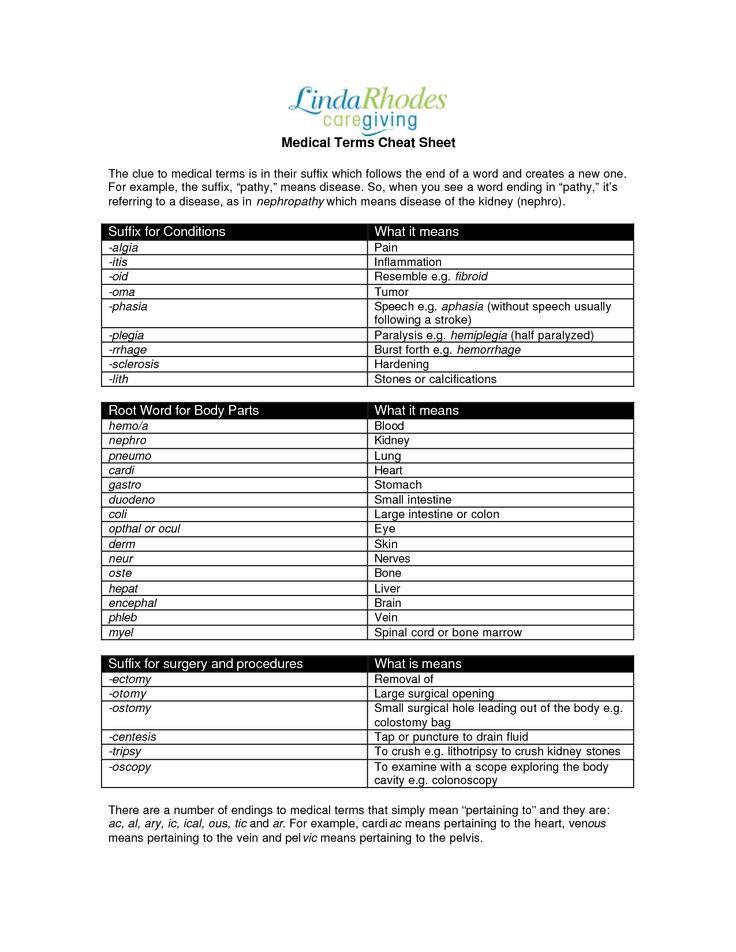 Medical Spanish Terminology Cheat Sheet Medical Terms
