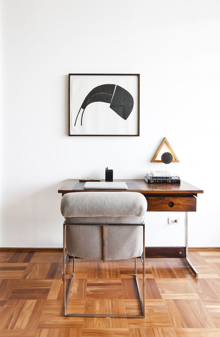 Home office with minimal design #parquet #abstractart #desk