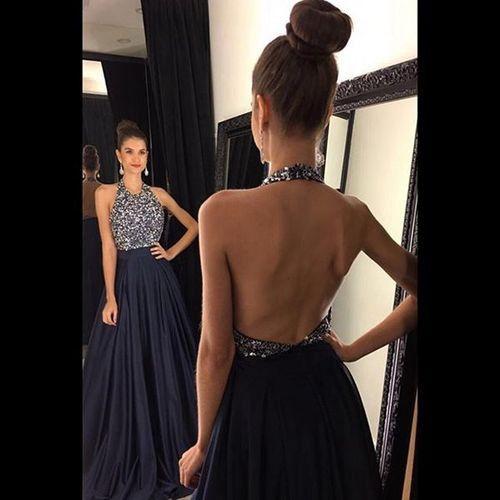 halter prom dress, long prom dress, navy blue prom dress, chiffon prom dress, formal evening dress, BD15
