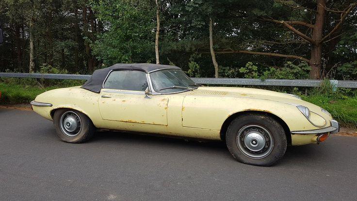 1972年製のジャガーEタイプが20年放置されていたところを発見されオークションに登場予定。 これはイエローの外装とブラックのレザー内装を持つシリーズⅢ V12で、エンジンはオリジナルの3.5リッター(272馬力)のまま。