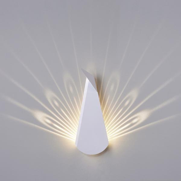 White Aluminium Peacock LED light fixture