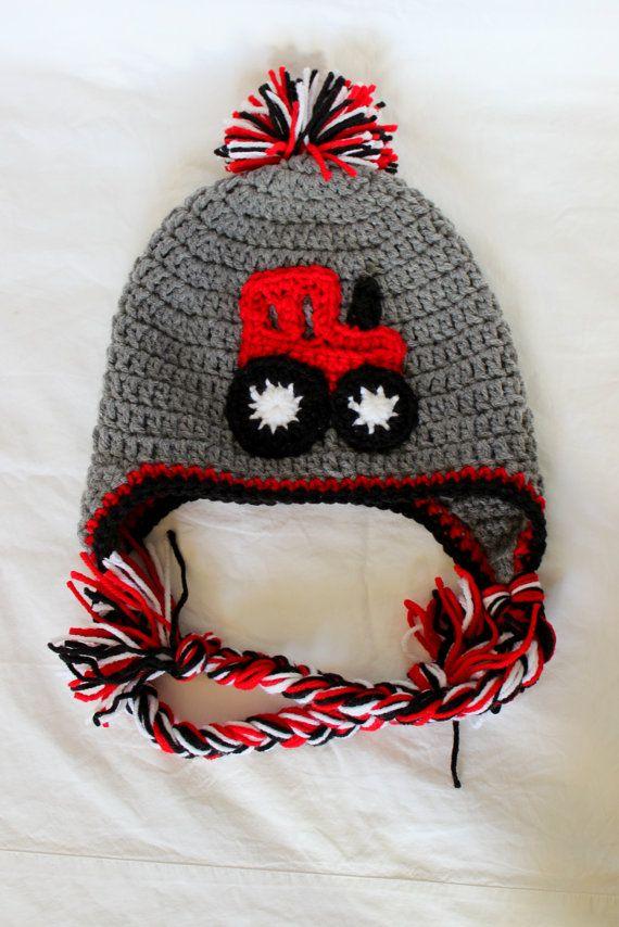 Crochet Red Tractor Earflap Hat With Braids by KrazyKrochetin