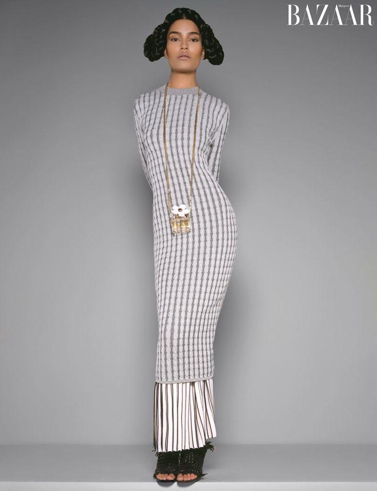 Laura James models a Proenza Schouler dress and skirt