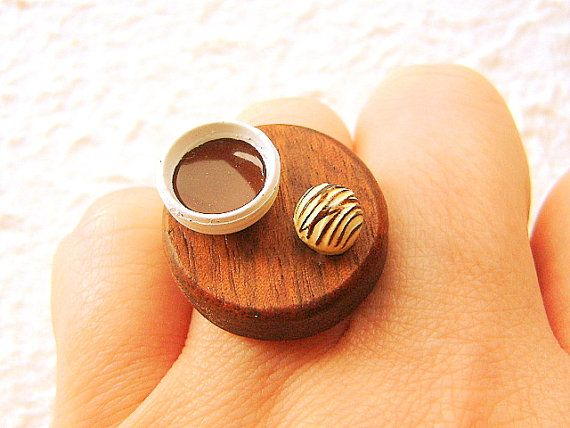 Miniature Food Ring Coffee Chocolate Ring by SouZouCreations, $16.50