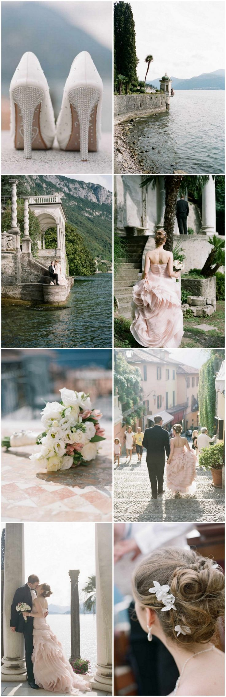 Elegant Lake Como Elopement in Italy with a gorgeous BLUSH PINK Vera Wang wedding gown. What!?! Pics: Rochelle Cheever Photography