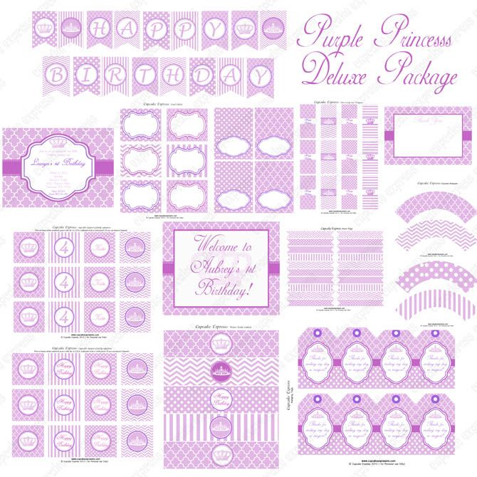 Purple Princess Printable Deluxe PackagePurple Princess Birthday Party #princess #party #purple