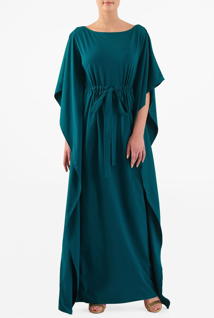 Get an effortless look in our billowy kaftan maxi dress styled with a boat neck and full length kaftan sleeves.