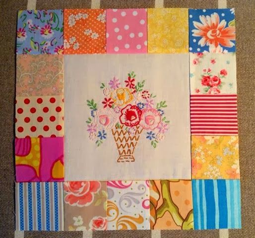 Dee's Doodles: Embroidered  Square with scrappy border--how bright and cheerful