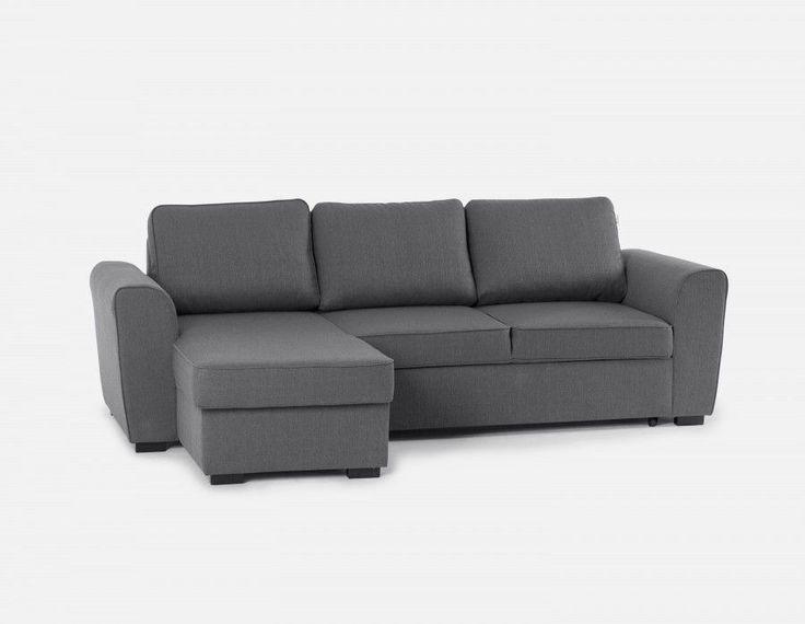 BERTO - Canapé-lit d'angle interchangeable avec rangement - Gris