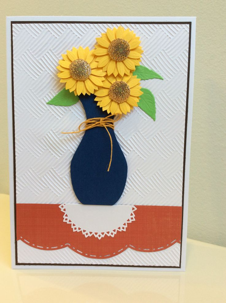 2015 Dies: Spellbinders S2-028 Filigree Vase; S4-474 Oval Bliss; S5-182 A2 Scalloped Borders 1; S2-061 Create Sunflower; Embossing Folder, Darice - Basket Weave; Flowers, Recollection Stickers