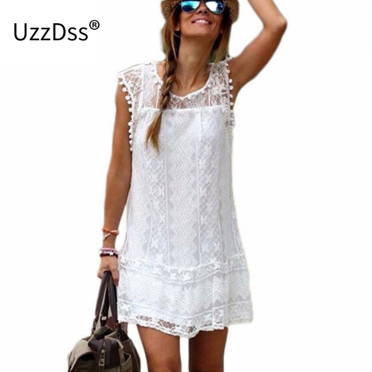 Gaun musim panas 2016 Wanita Kasual Pantai Pendek Gaun Rumbai Hitam Putih Mini Lace Dress Sexy Party Dresses Pernikahan & plus ukuran