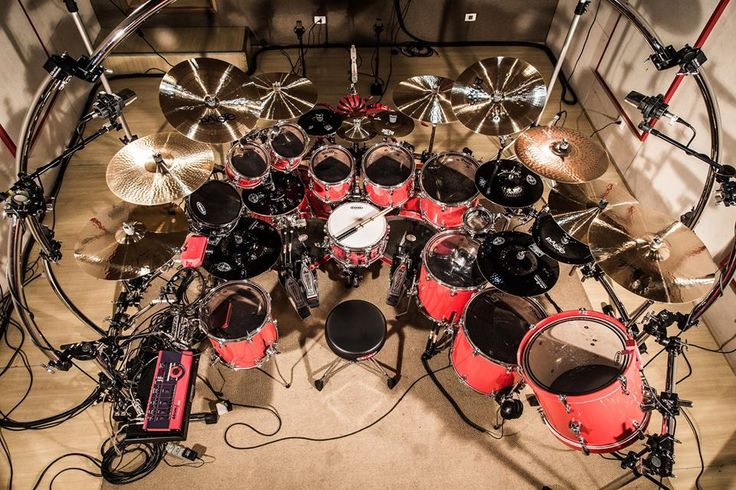 Drums set up with many cables to mic & record in the PROFESSIONAL RECORDING STUDIO - #Mapex. RESEARCH #DdO:) - https://www.pinterest.com/DianaDeeOsborne/drums-drumming-joy/ - DRUMS & DRUMMING JOY. Manufactured by KHS Musical Instruments Company of Taiwan drum maker since 1989. Photo pinned via Brent Lawson. #DianaDee's info Source: http://mapexdrums.com/us/products/drum-sets/ - Maple & Walnut Hybrid Shell for many kits. SONIClear™ bearing edge gives clear / fat sounds.