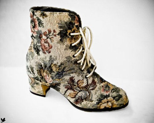 1980s floral tapestry shoes.