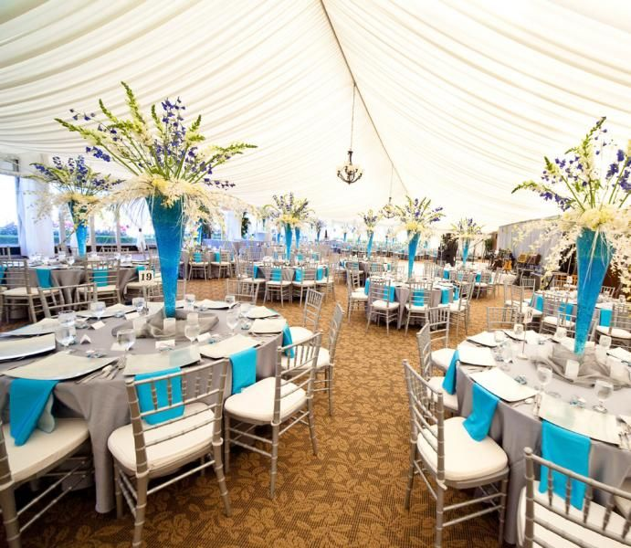 Golf Course Wedding Ideas: Beautiful Colors Under The White Outdoor Tents At The