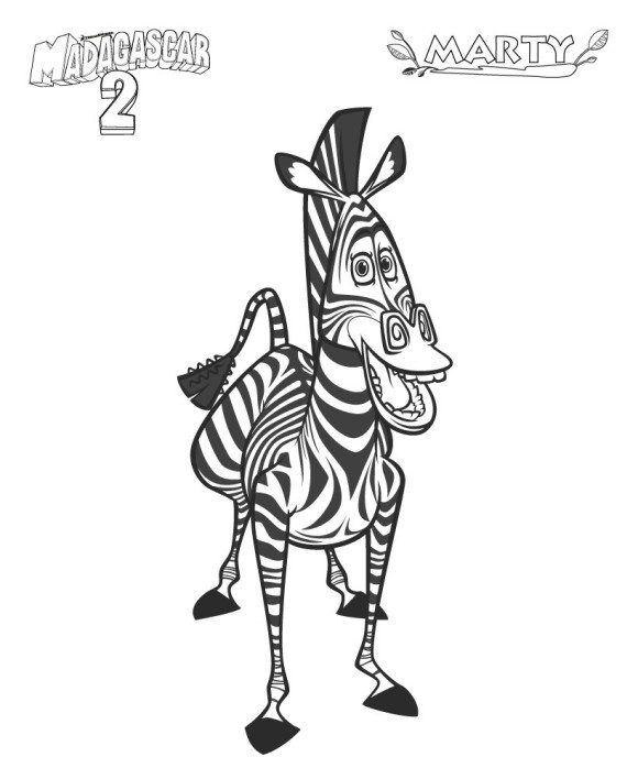 Coloring Pages For Kids Madagascar 2 Marty Zebra Coloring Pages Cartoon Coloring Pages Coloring Pages