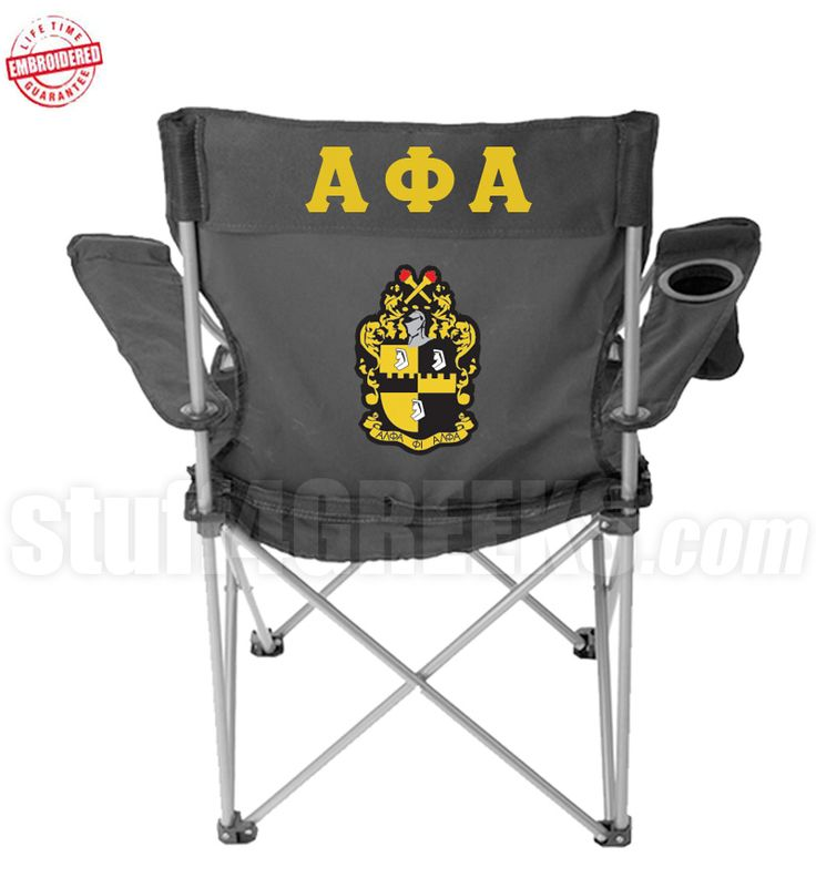 Black Alpha Phi Alpha folding lawn chair with the Greek letters and the crest embroidered on the back. $89.99