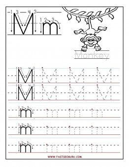 Free Printable letter M tracing worksheets for preschool. Free connect the dots alphabet printable worksheets for kids 1st graders.Letter M for Monkey