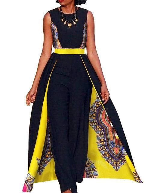 b0c0431df74 African Elegant Sleeveless Long Dashiki Pants Jumpsuit