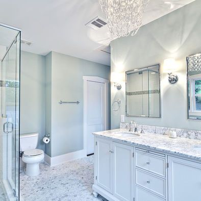 Web Photo Gallery Spa like master bath with glass chandelier and pedestal tub traditional bathroom austin by Avenue B Development Paint color and chandelier