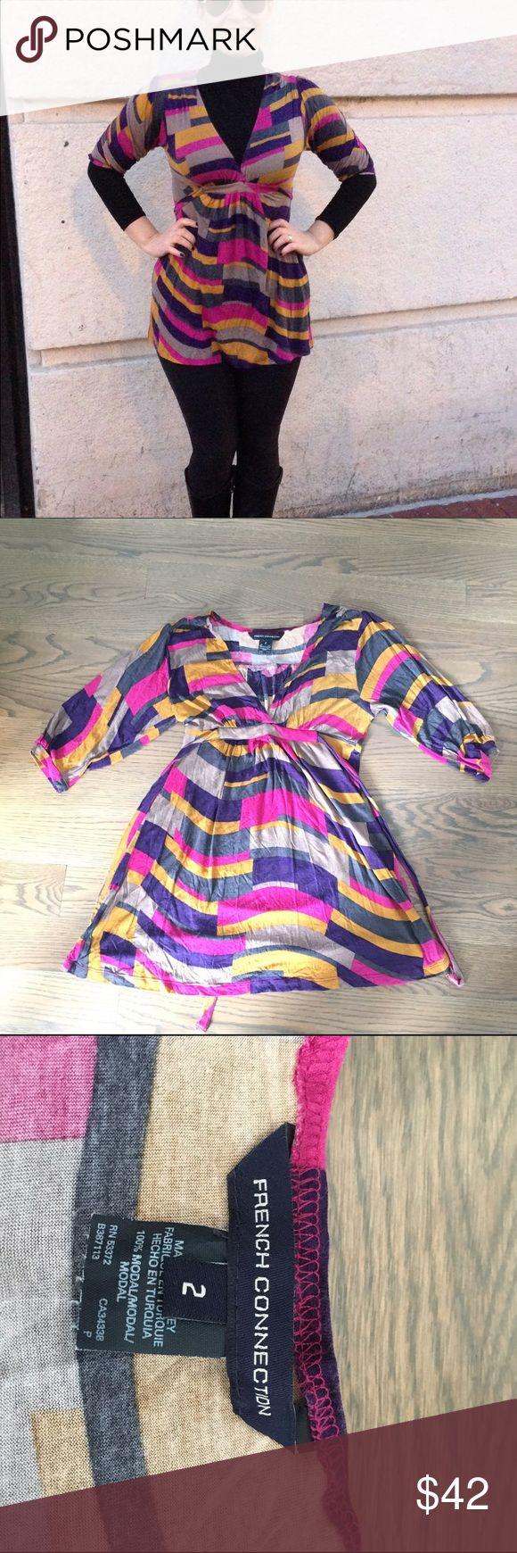 French Connection Dress French Connection Dress                                        - Excellent Condition                                                   - 100 modal                                                                   - Colorful and fun piece that pairs great with leggings                                                                           - Size 2 and no longer fits me or I would keep it            - Pet free and smoke free home 🏡 French Connection Dresses Mini