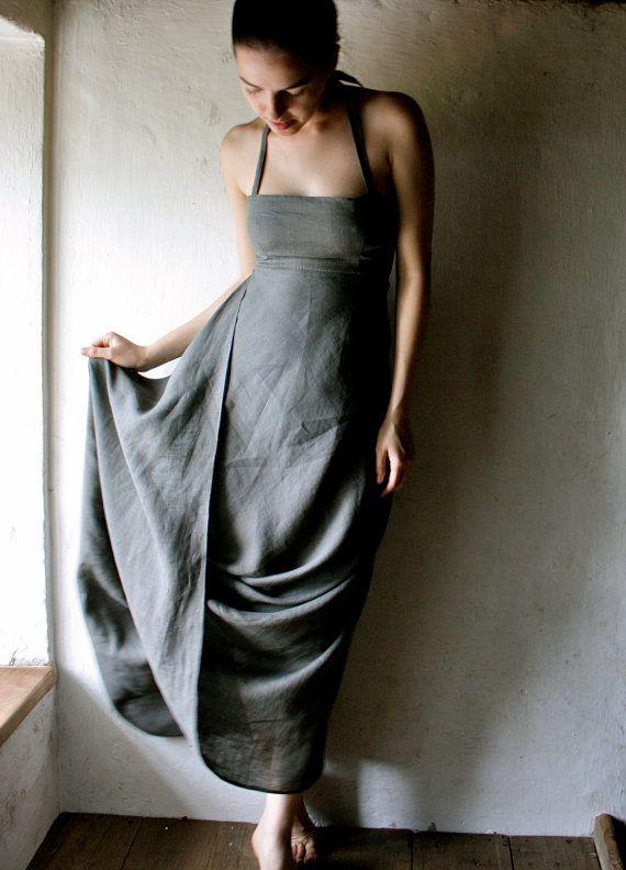 Halter linen maxi Dress Floor Length by larimeloom on Etsy