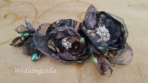 Mossy Oak Camo Wedding Hairpiece Camouflage by Weddingzilla