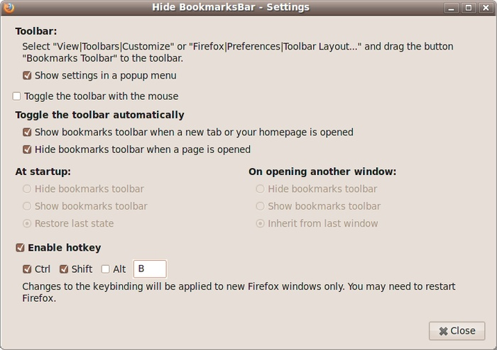 Hide BookmarksBar :: Add-ons for Firefox - Hides and shows the bookmarks toolbar.