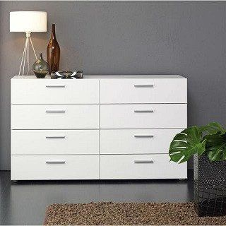 White Modern Bedroom 8 Drawer Double Dresser