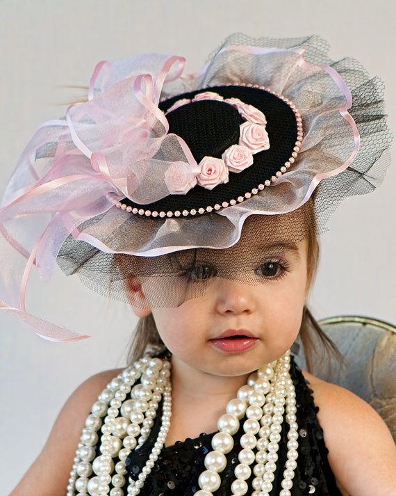 Baby Hat Classic Pink and Black Fascinator for Babies от Amarmi