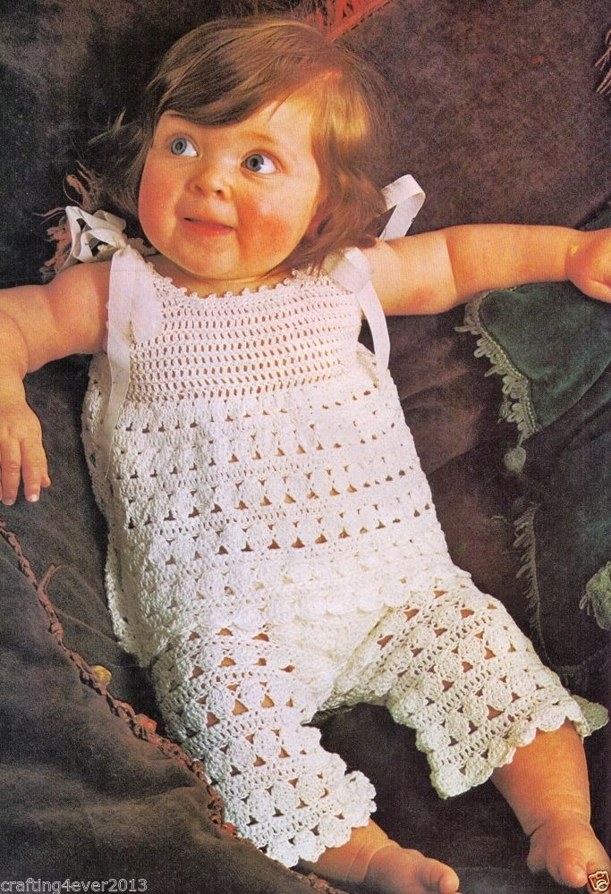 VINTAGE BABY GIRLS LACY COTTON SUMMER SLEEVELESS TROUSER SUIT SIZE 51-61 CMS 3 PLY CROCHET PATTERN