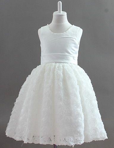 Precioso satén sin mangas y encaje de la boda / vestido de noche vestido de niña de la flor con flor / de la perla de imitación - EUR € 32.9...