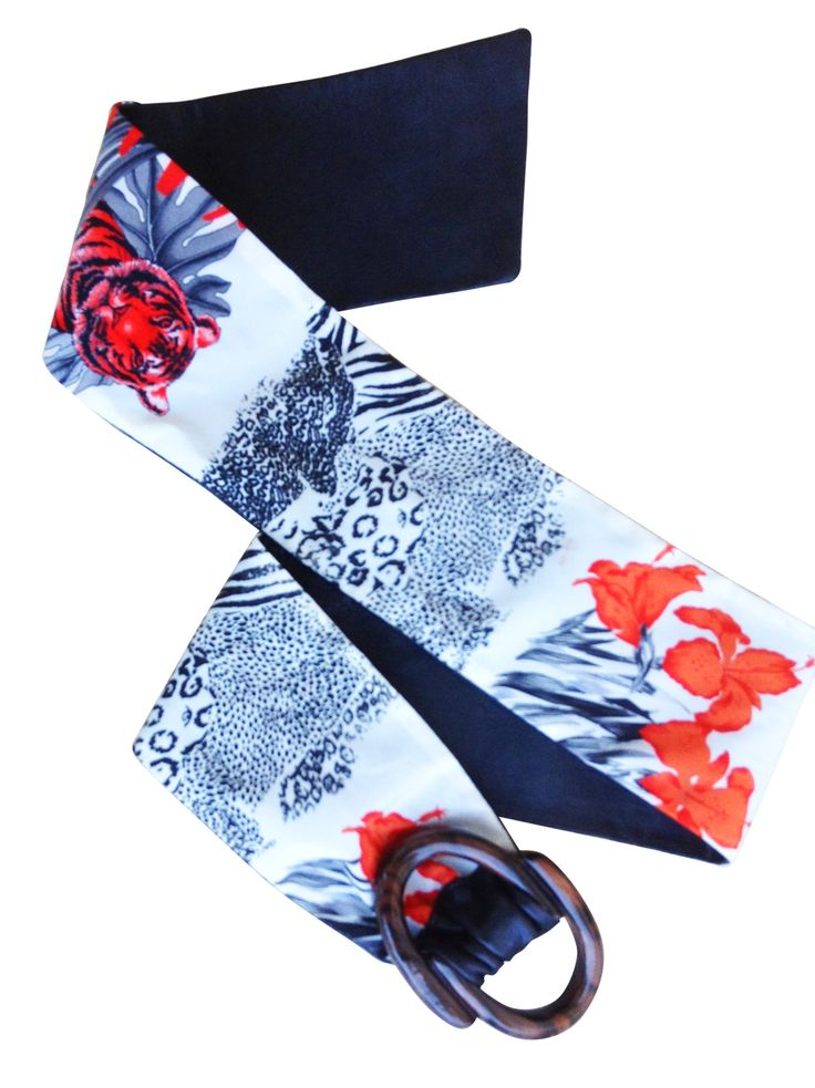 Salvatore Ferragamo silk and leather wide belt /  My good closet