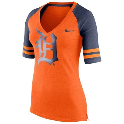 Nike Detroit Tigers Women's Orange Logo Fan 1.4 V-Neck T-Shirt #tigers #detroit #mlb